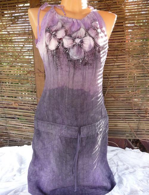 Lněné šaty (fialkové květy) c2d16a0542