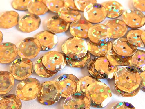 Flitry s dírkou, kulaté, našívací, sv. zlatá holo