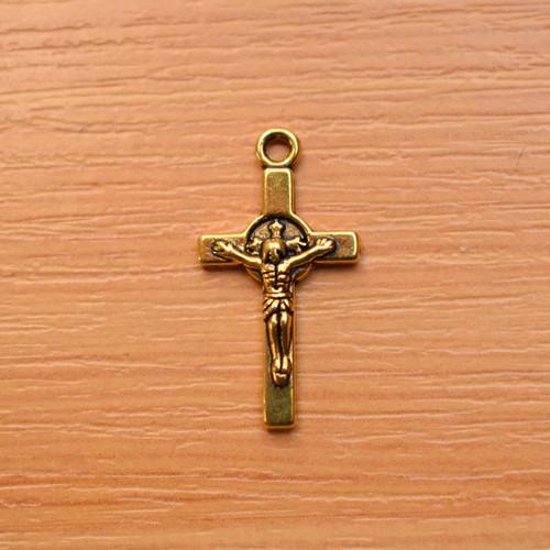 Křížek -  starozlato -12mm x 23mm