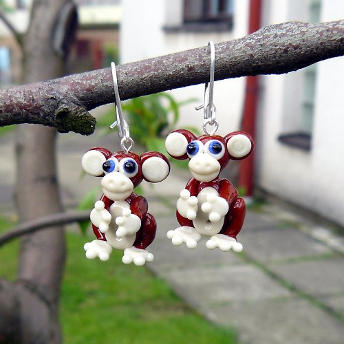 Náušnice opice - vinuté perle