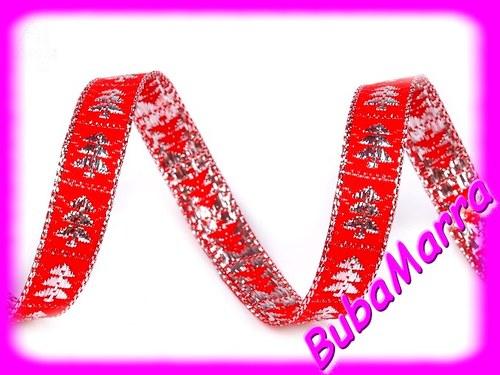 2m~ Lurexová vánoční stuha ~ stromečky ~ červená