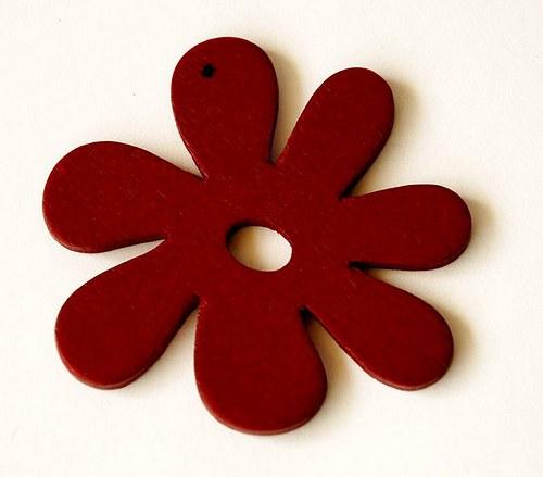 dřevěné kytičky- červenohnědé