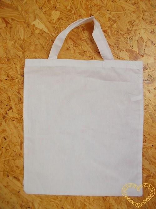 Bílá plátěná taška se dvěma uchy
