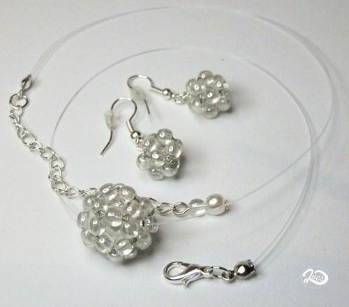 Bílá perleť v čiré kuličce (171)