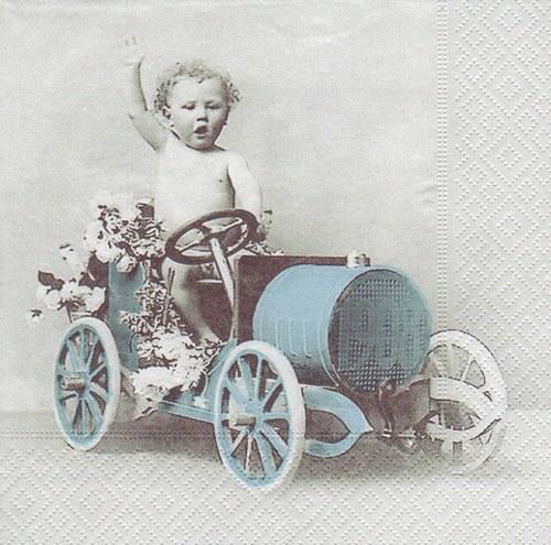 Ubrousek vintage - chlapeček s traktůrkem