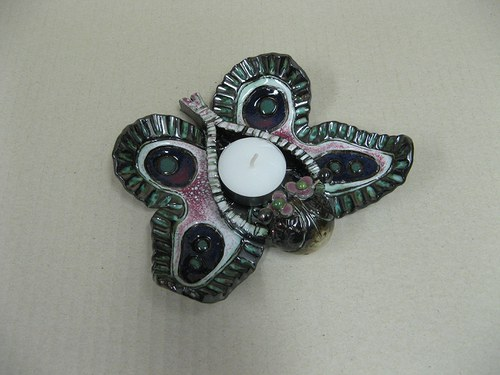 keramický svícen - motýl