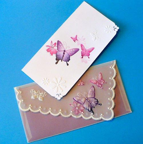 128. Motýlkové  blahopřání s obálkou