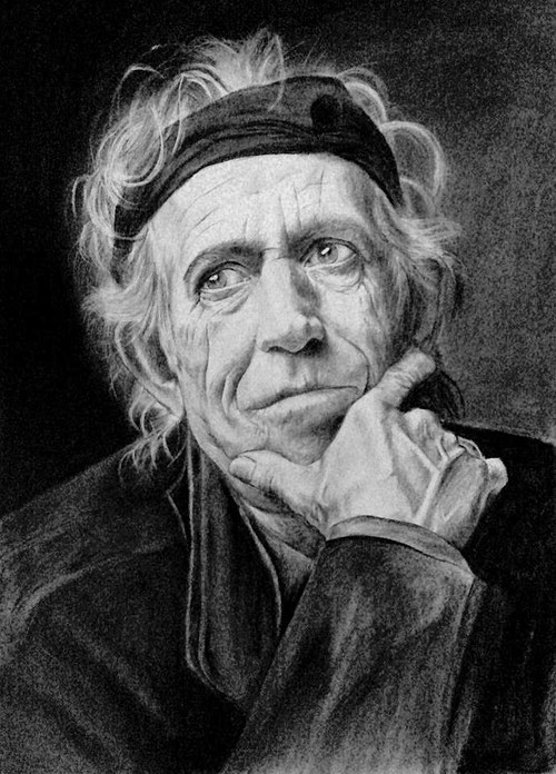Keith Richards, kresba uhlem