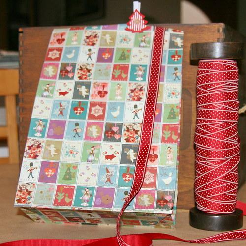 Dárkový sáček větší - vánoční, 20 x 10 x 35 cm