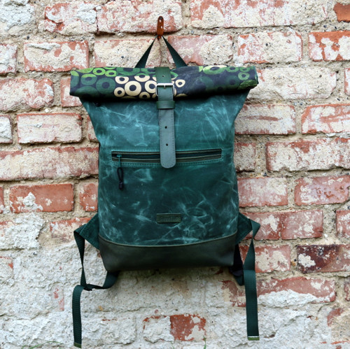 Waxed Canvas and Leather Backpack, N. 4, Green