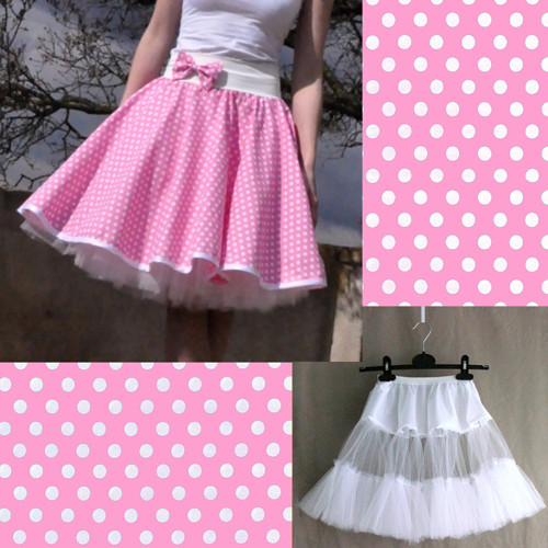 Sv. růžová puntík. sukně+jednoduchá bílá spodnička