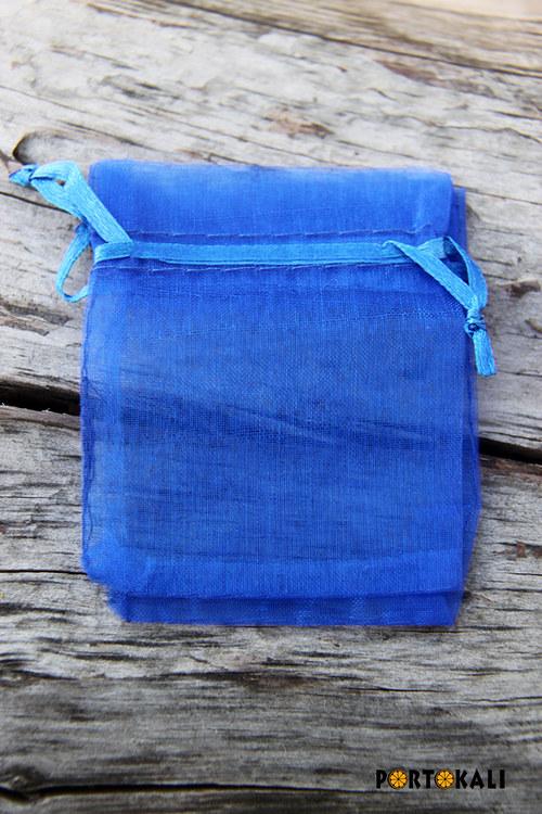 Organzový sáček modrý