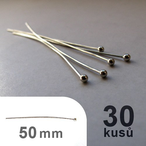 Ketlovací nýty 5cm s kuličkou - platina - 30ks