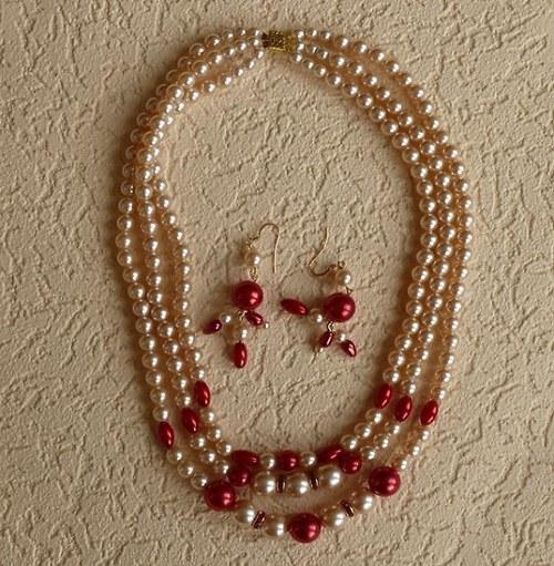 perlový set - náhrdelník třířadý + náušnice