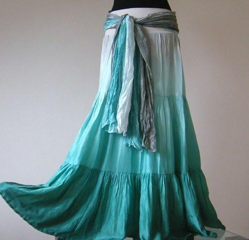 SET hedvábná sukně s kr. spodničkou+šála