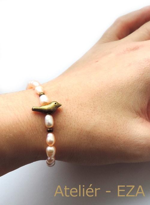 Ptáček s říčními perlami - náramek do sady