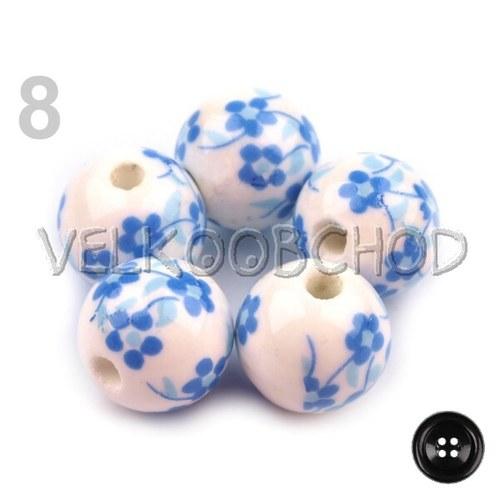 Korálky Květy pr.12mm (5ks) - modrá královská