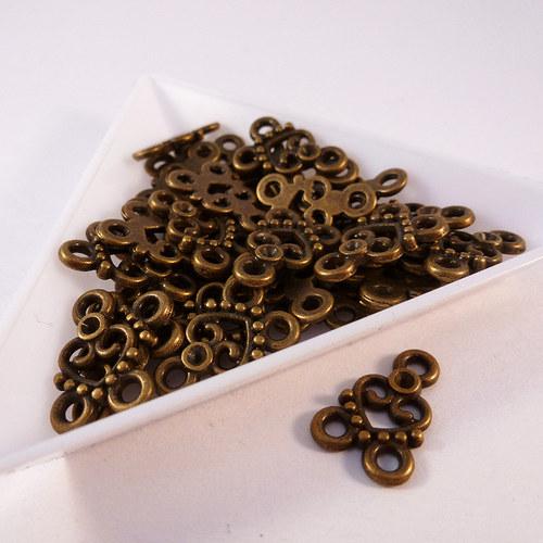 Mezikus srdíčko 15 mm starozlato 10 ks