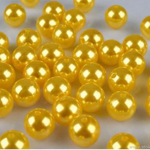 perly voskové/ žlutá tmavě / 15mm/ 4ks