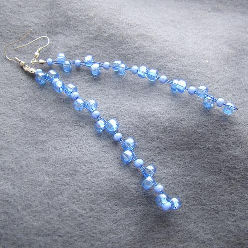 náušnice k   náhrdelníku průzračně modrému