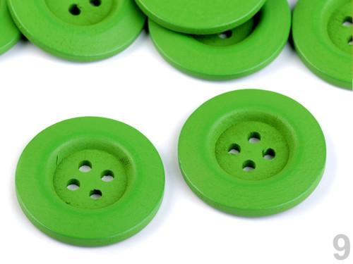 Dřevěný dekorační knoflík 4cm (2ks) - zelená