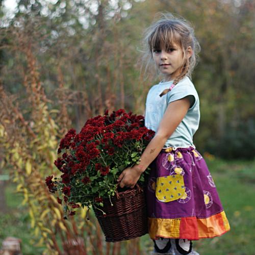 Poezie babího léta...dívčí sukýnka 5-7 let