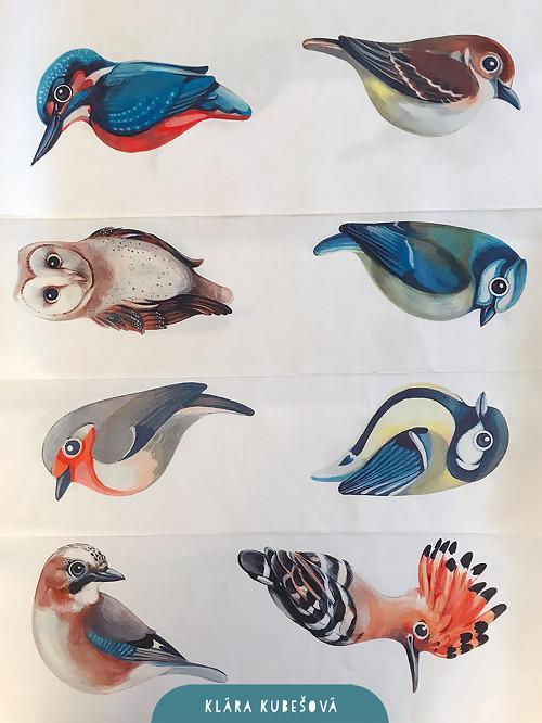 8 ptáčků - látkový panel