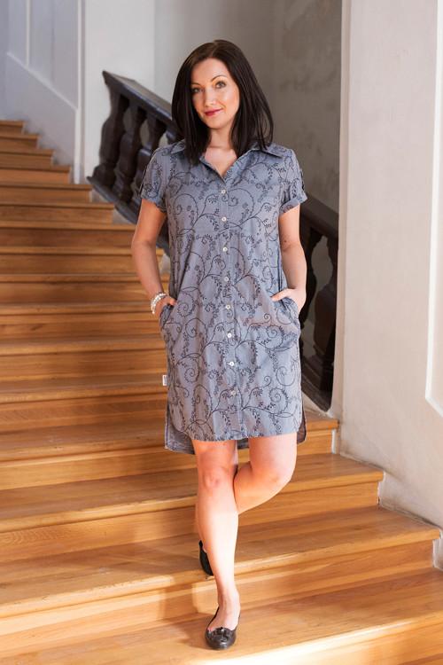 Košilové šaty - modré s výšivkou