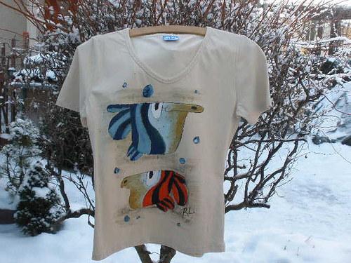 Béžové triko vel. L ryby