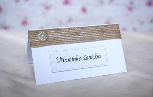 Svatební jmenovka bílá s juta stuhou a perličkou