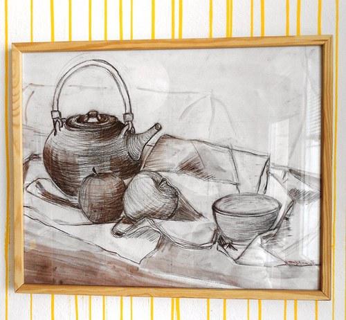 obraz do kuchyně + dřevěný rám