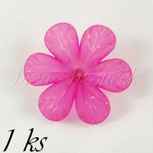 Sytě růžový akrylový květ - 1ks