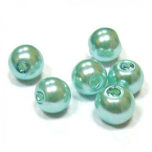 Perla vosková 6 mm - světle modrá - 10 ks