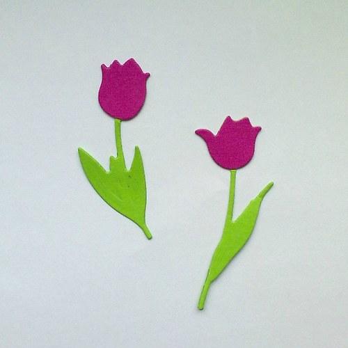 Výsek - tulipány tm.růžové  2ks
