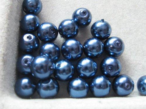 Vosková perla - tm.modrá 8 mm / 25ks