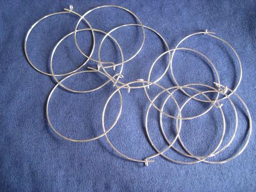 Postříbřené kroužky, 25 mm, 10 ks ( 5 párů ) 35,-