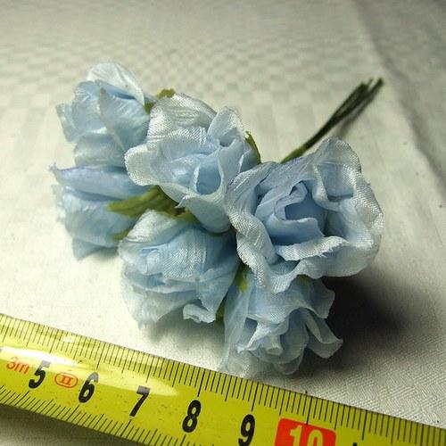 Květy růží na drátku - 6 ks modré