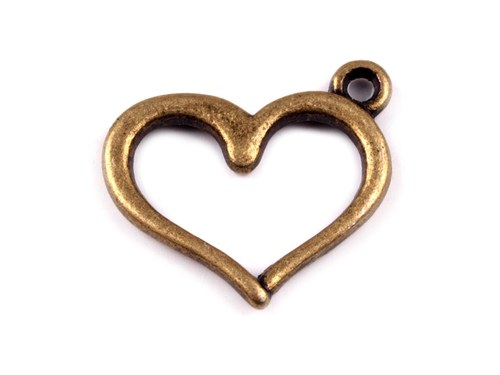 Bronzové srdce - 12mm x 15mm