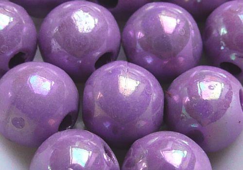 Plastové kuličky duhové 6 mm - sv. fialová / 10 ks