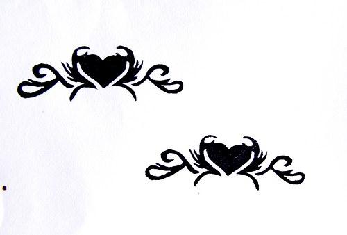 Srdce- tetování. Omyvatelné razítko.