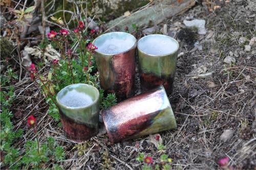 RAKU poháry: Nové Slunce_5 (dárkové balení)