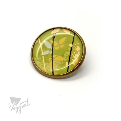 Chiyogami brož zelená