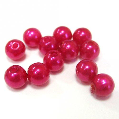 Perly - tmavě růžové - 50 ks