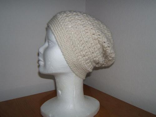 Zimní čepice ze 100% alpaky, smetanová