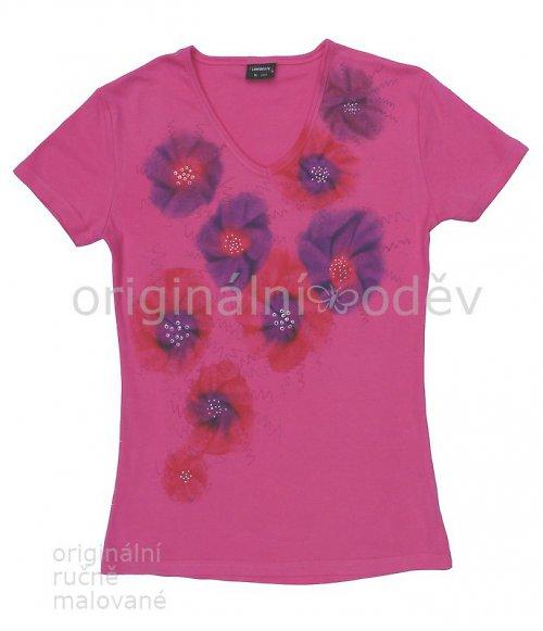 SLEVA: Malované tričko dámské - fantazie - růžové