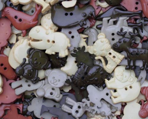 Knoflík zvířátka zemité barvy - SADA 5 KUSŮ