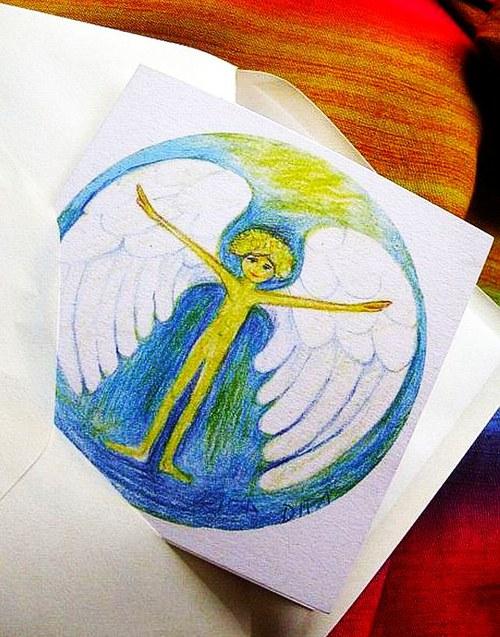 Anjelik-autorská pohladnica-prianie