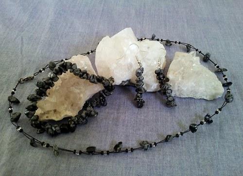 Sada šperků z vločkového obsidiánu