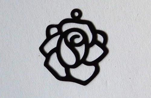 Růže černá 18x20mm
