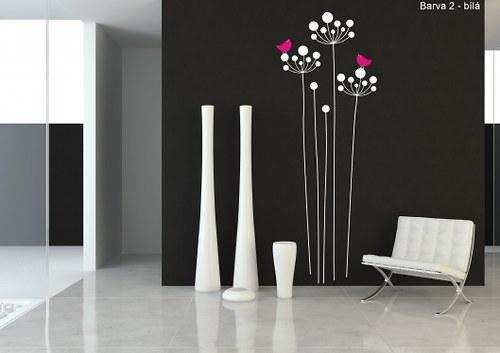 Samolepka - Kvetoucí travina s ptáčky (41x110 cm)